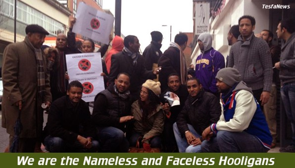 Some of the Nameless and Faceless Hooligans that draw the line to instigate violence, aggression, vandalism and terrorism against Eritreans and the UK itself