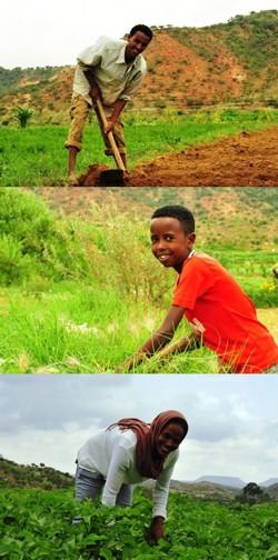 Healthy and prosperous villagers living near the Adi Hakefa-Lamza micro dam in Eritrea
