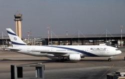 An El Al plane taxis into Ben Gurion International Airport