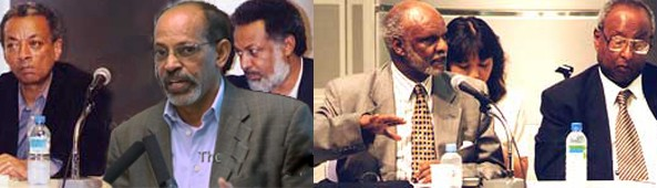 "The traitors group known by G-13, authors of the ""Berlin Manifesto"" holding secret miteeing with Ethiopian Officials in Tokyo. (L-R) Addis Ababa University President Dr. Andreas Eshete, Pawlos Tesfagiorgis, Dr. Assefaw Tekeste, Dr. Bereket Habteslassie, Dr. Kifle Wodajo"