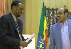 Owner of Asmarino.com Mr. Tesfaldet Meharena and Ethiopia's Late Prime Minister Meles Zenawi in Addis Ababa