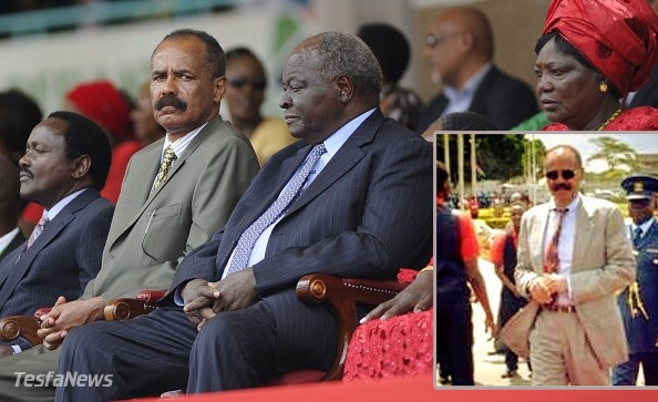 From left, Former Kenyan Vice President Kilonzo Musyoka, Eritrean President, Isaias Afewerki, and former Kenyan President, Mwai Kibaki attend the marking half a century of independence from Britain