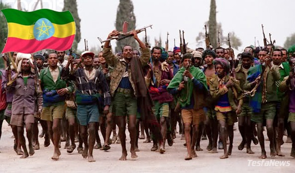"""The minority regime's  """"crab mentality"""" is an obstacle to regional peace, stability and security.  (Photo: Trigger happy barefoot Tigray Militia soldiers)"""