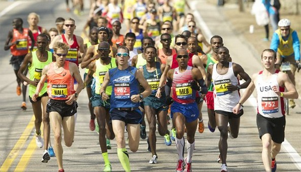 Meb Keflezighi won the men's division of the Boston Marathon, the first American to do so since 1983 and one year after the race and the city were devastated by a pair of bombs that exploded near the finish line.