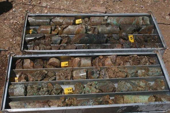 Core from drill hole YDD-036 exhibiting green (Malachite) copper mineralisation from the surface