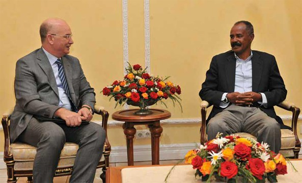 AU Peace and Security Council Commissioner, Ambassador Smail Chergui in Asmara with President Isaias Afwerki