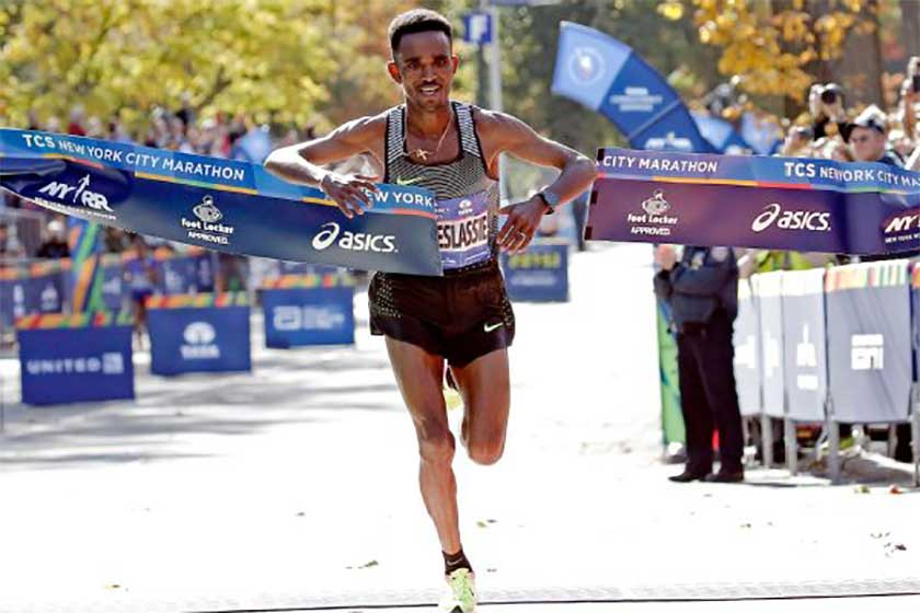 New York City Marathon winner Ghirmay Ghebreslassie of Eritrea