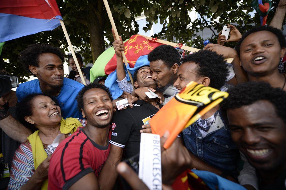 Eritrean fans at the 2015 Tour de France
