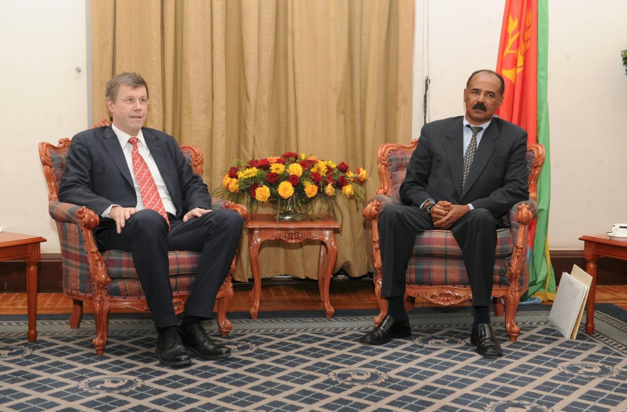President Isaias with Switzerland ambassador to Eritrea Mr. Daniel Cavegn