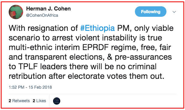 Herman J. Cohen advising handing over of TPLF power