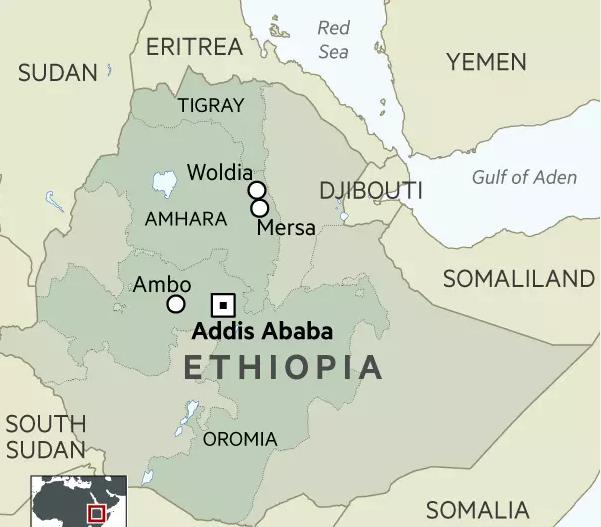 Ethiopia protests location