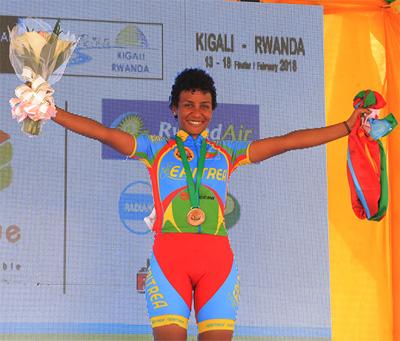 Bisrat GhebreMeskel winning the 2018 African Continental Championship