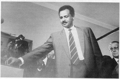 The PGE Secretary-General Mr. Isaias Afwerki casting his vote