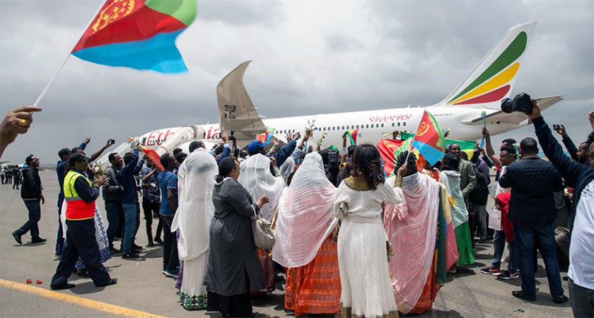 A warm welcome when the first Ethiopian commercial flight lands in Asmara after two decades
