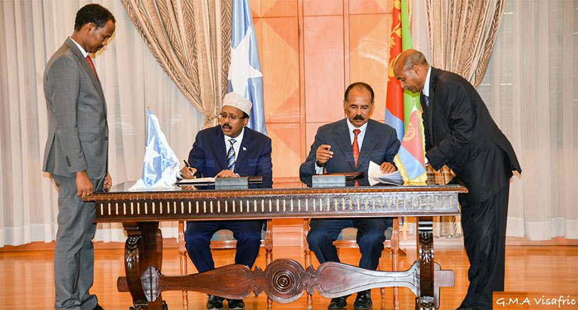 "Signing the Eritrea-Somalia ""Joint Declaration on Brotherly Relations and Comprehensive Cooperation"" in Asmara"