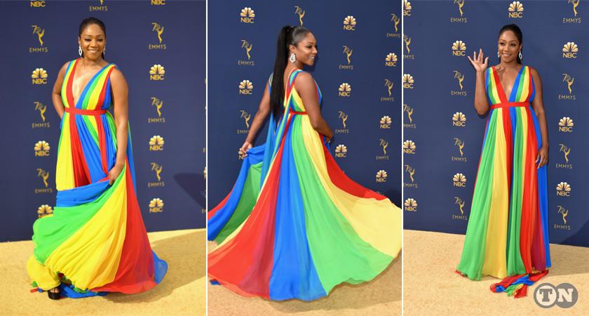 Tiffany Haddish looks good with her custom Eritrean flag dress at Emmys