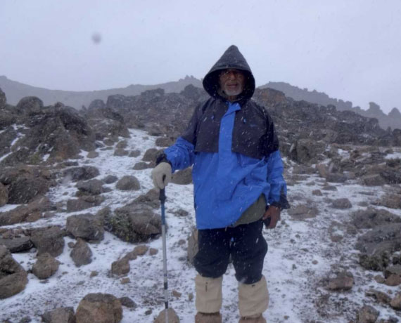 Dr. Naigzy Gebremedhin on his 13th climb at Mount Kenya