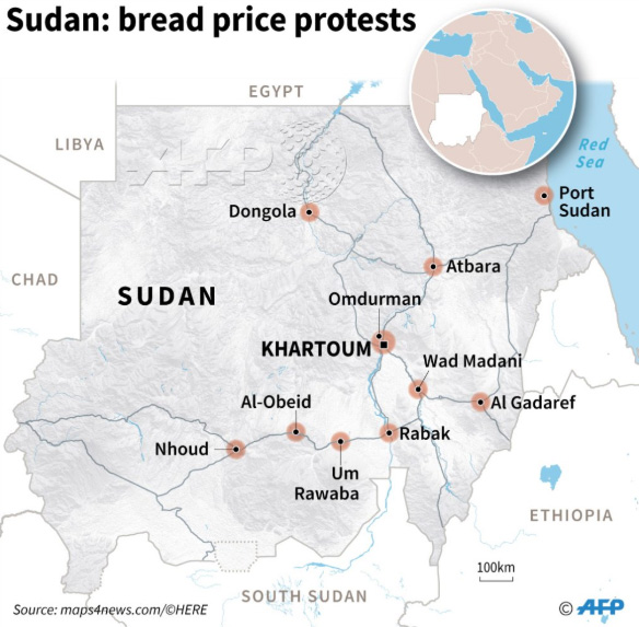 Map locating main cities in Sudan affected by protests over bread price increases