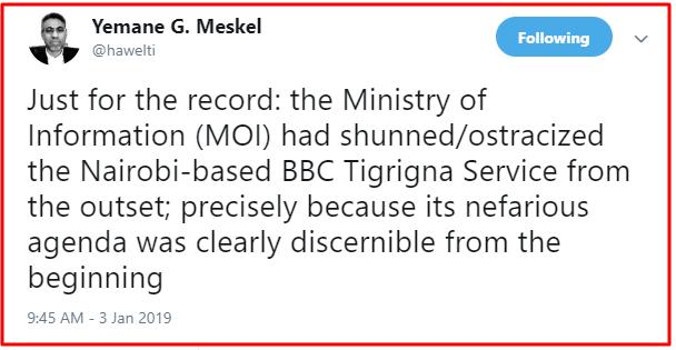 yemane tweet re BBC Tigrinya