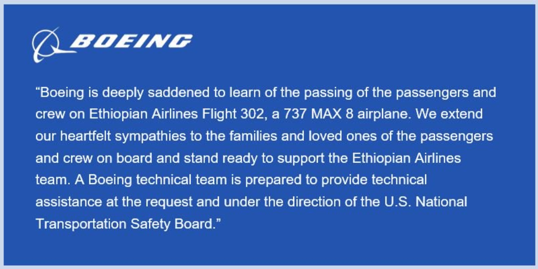 Boeing statement on the Ethiopian Airlines ET302 crash