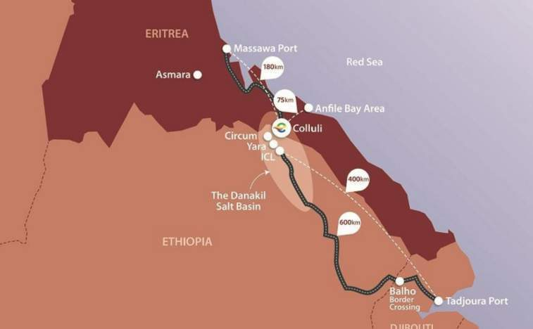 Colluli is located approximately 75km from the Red Sea coast, providing unrivalled future logistics potential.