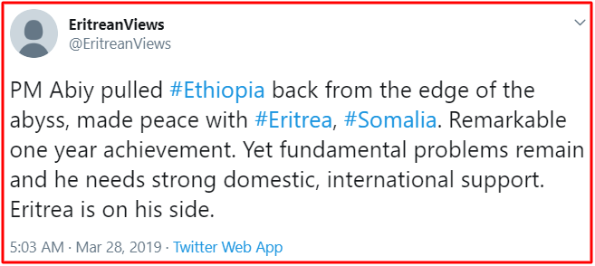 Eritrea view on Ethiopia