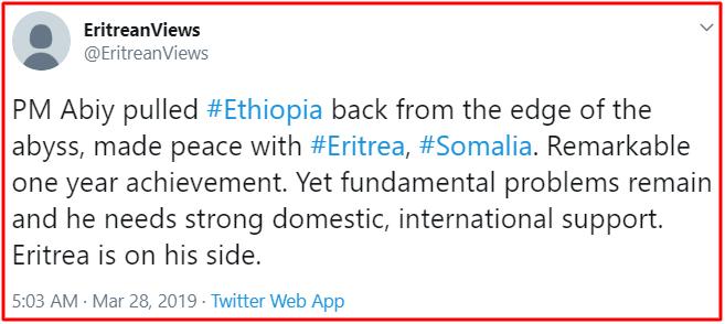 Eritrea view on Ethiopia