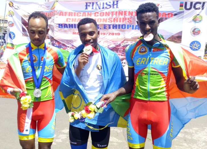 Eritrean riders Asmerom Yoel and Yohannes Gebrehiwet