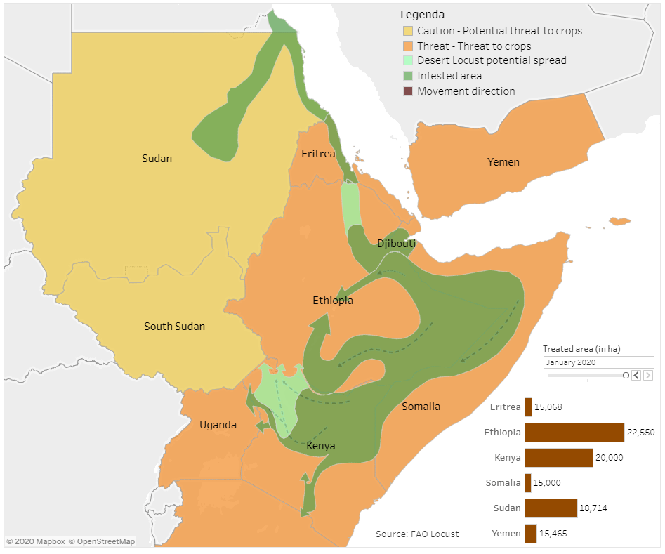 Areas affected by the Desert Locust crisis in the Horn of Africa according to FAO