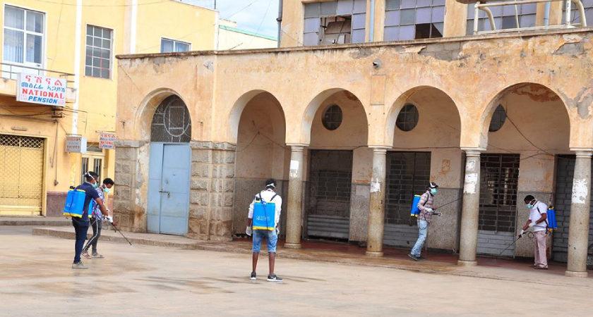 Volunteers Sprayed Sanitizers in Asmara