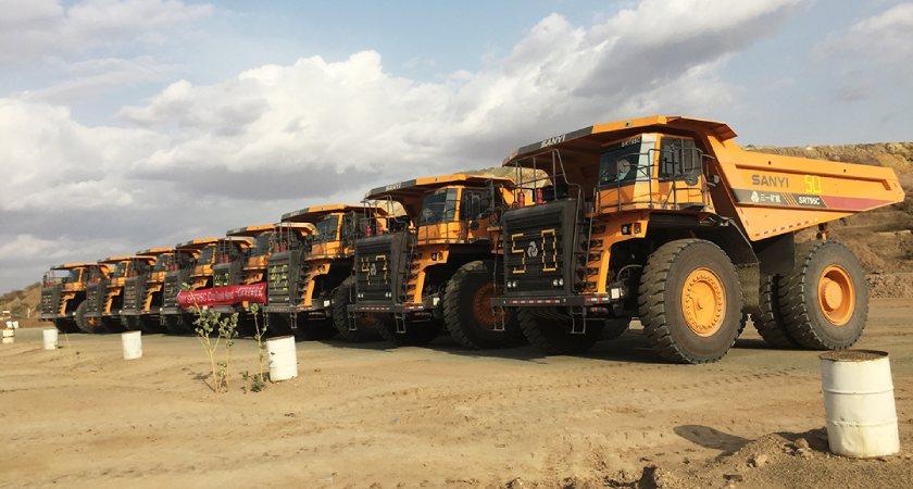 Bisha receives nine SRT95C dump trucks from SANY